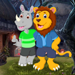 Lion And Rhinoceros Embracing Escape Games4King
