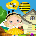 Merry Girl With Balloon Rescue Games4King