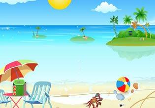 Red Sun Beach Escape Escape Fan