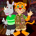 Tiger And Rhinoceros Rescue Games4King